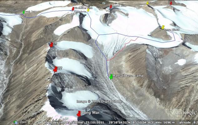 Le haut de la première vallée avec les différents sommets qu'il est possible de gravir.