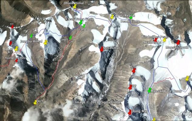 Une vue globale de l'itinéraire réalisé, avec tous les noms que nous avons donnés aux cols, sommets ou camps