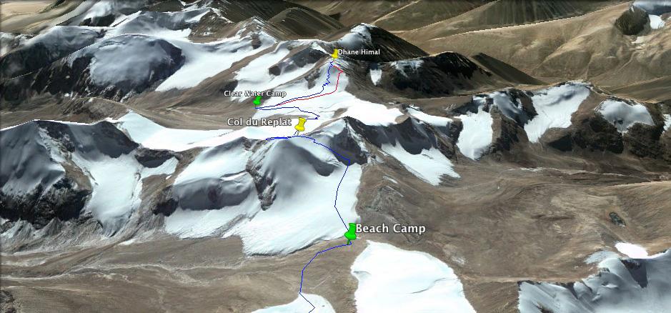 La superbe traversée du Col du Replat Himalayen. Une très belle journée...