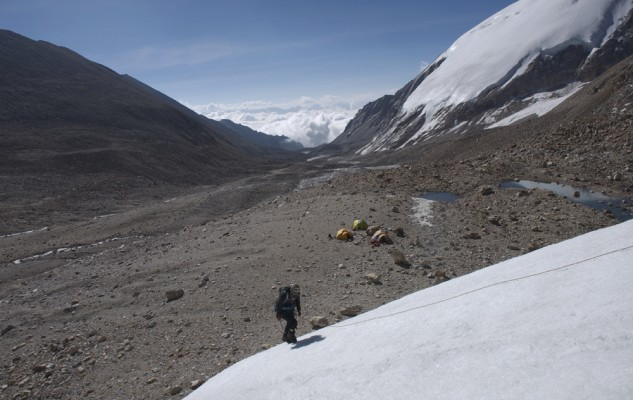Clear Water Camp, du haut. Une photo prise le lendemain, lors de l'ascension du Dhane Himal.