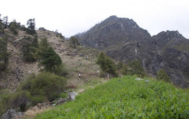 La dernière partie de l'arête, avec un sentier bien tracé. Nous sommes maintenant très haut au-dessus de la vallée.