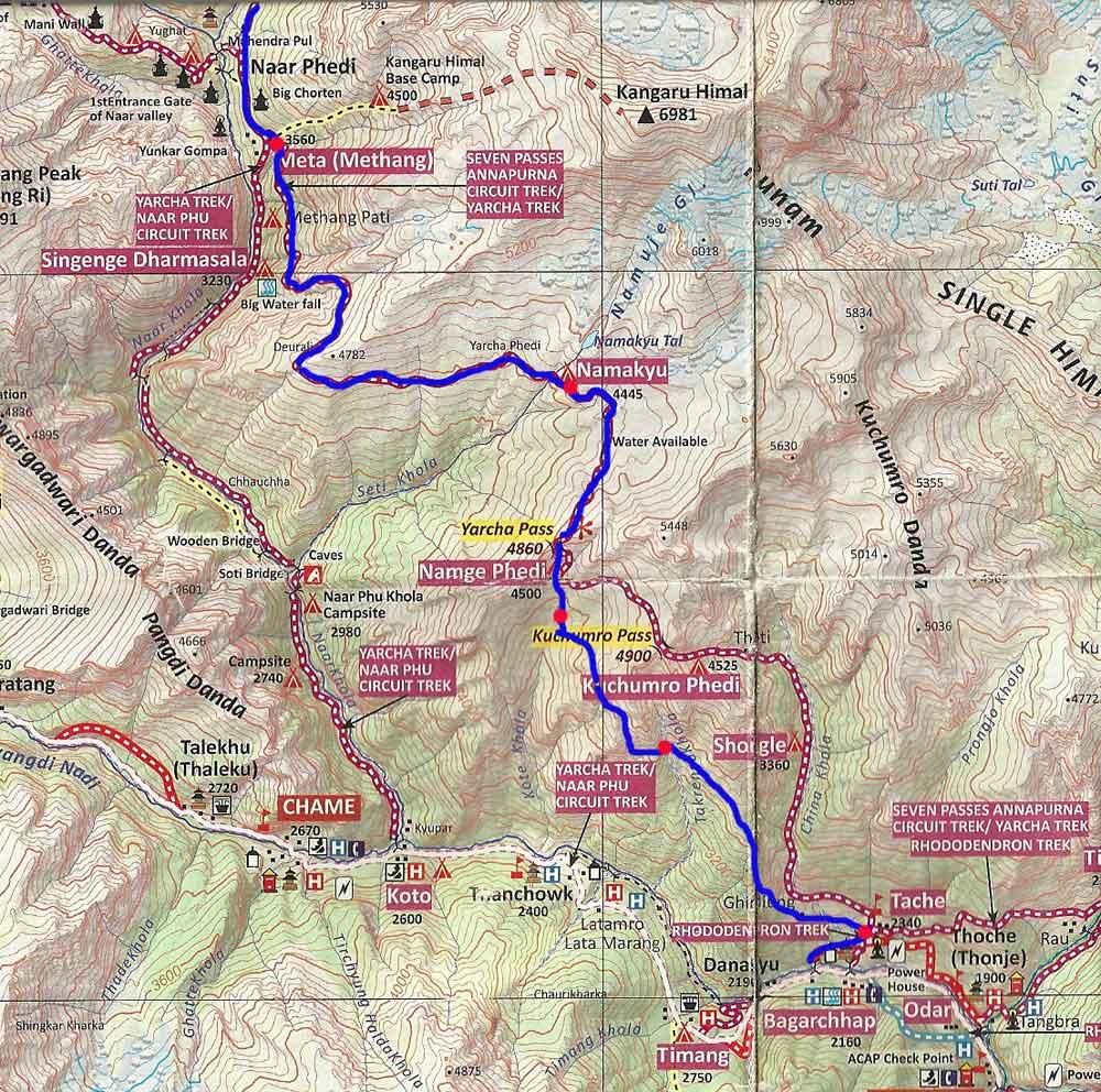 La carte modifiée pour la première partie de l'itinéraire Tache Meta.