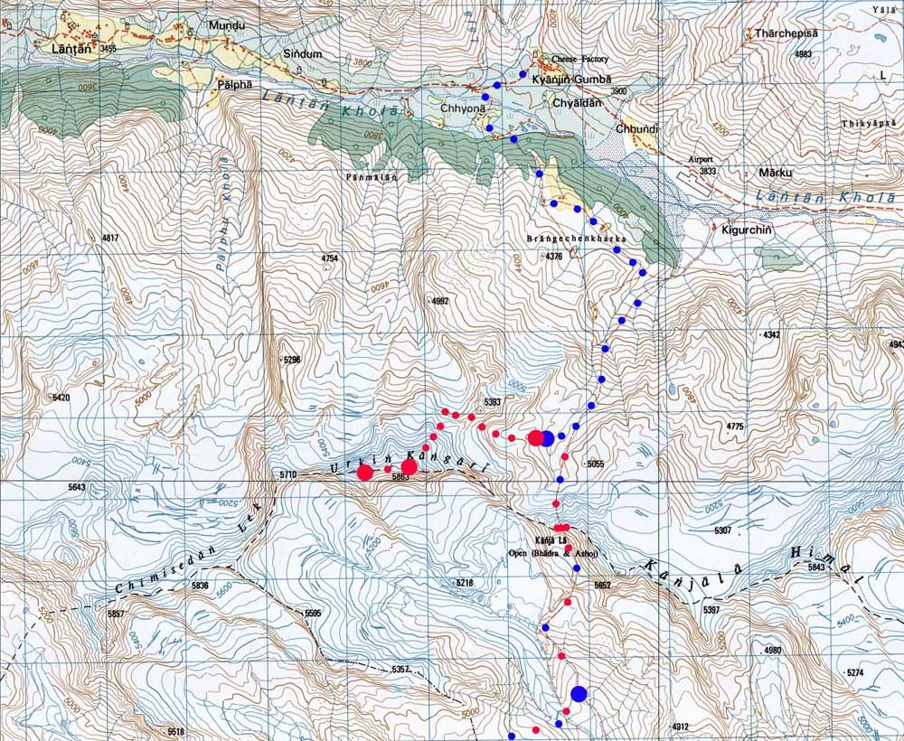 Une petite carte du passage du col et du massif du Ganja Himal.