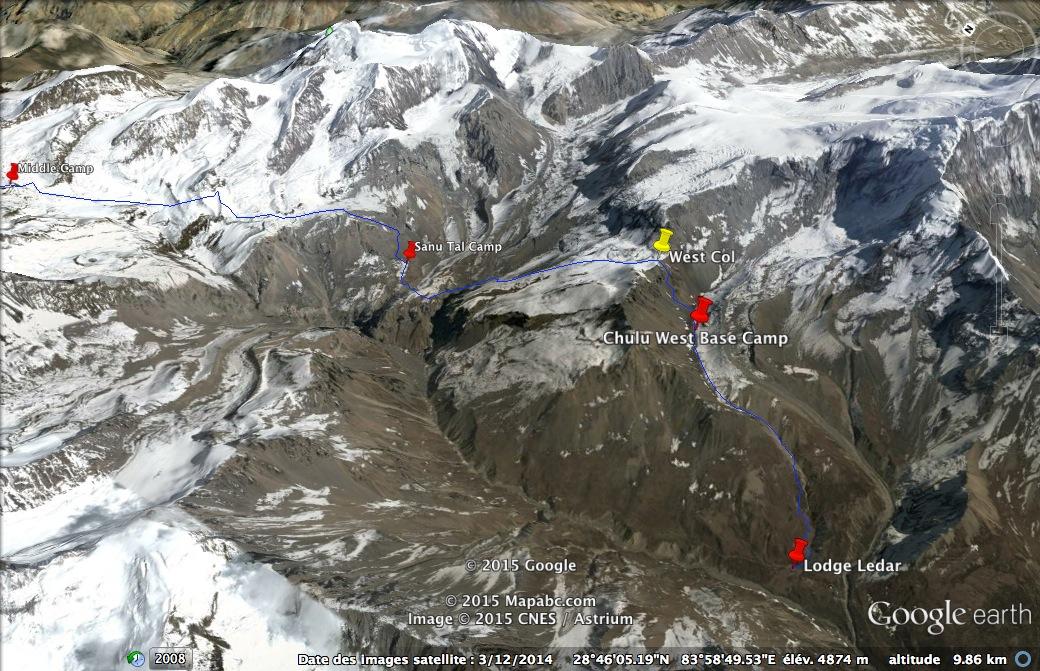 La première partie de l'itinéraire de la traversée du Yakawakang Pass.