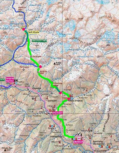 L'itinéraire de retour pour rejoindre Hepka.