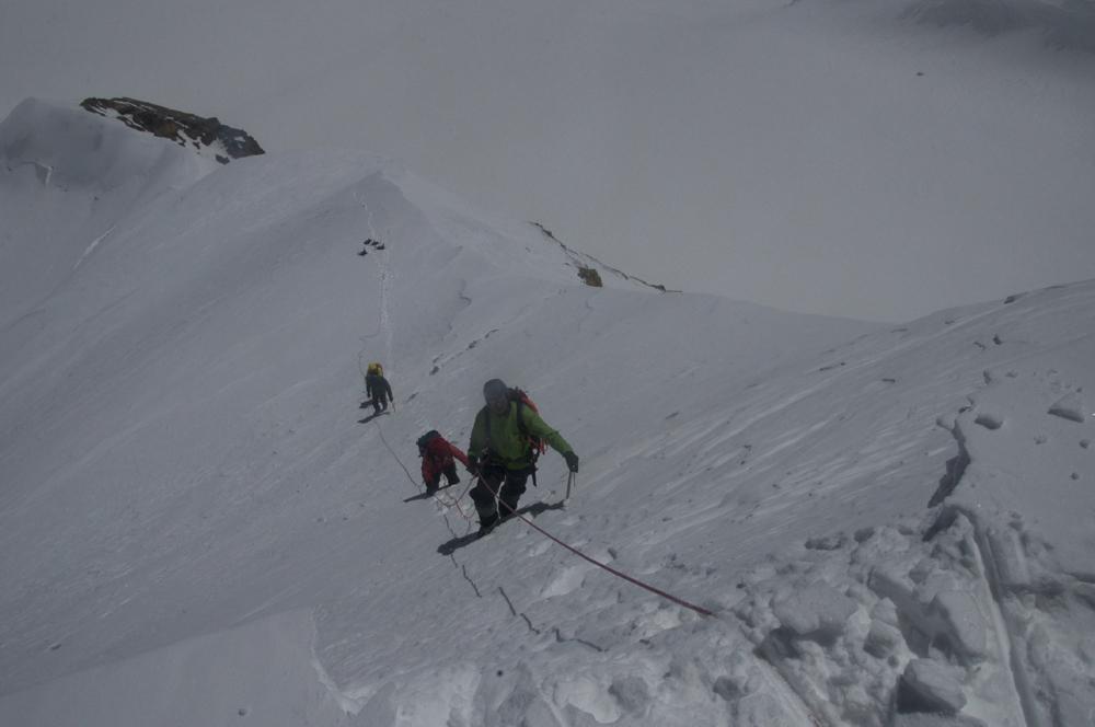La dernière pente raide avant le sommet, que Rajan a gravi en tête.