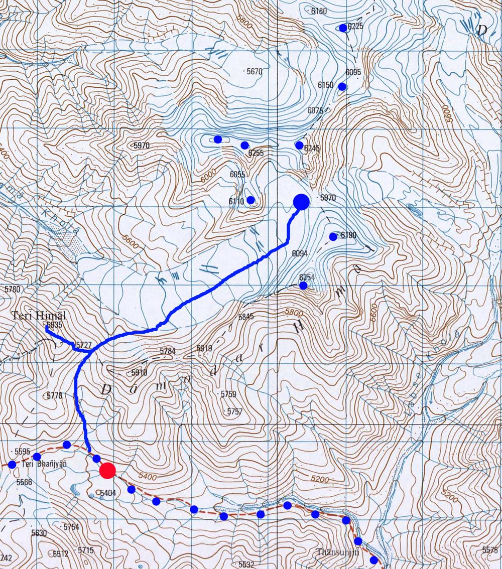 Une idée de l'itinéraire et les différents sommets