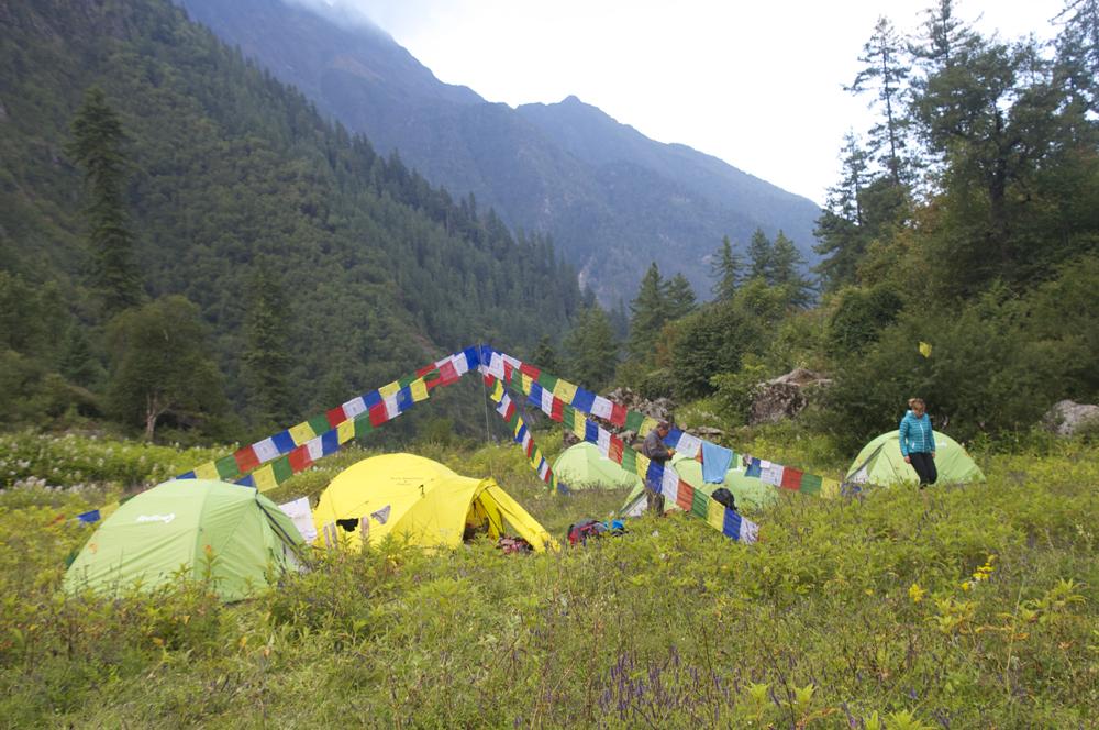 Le camp du soir .
