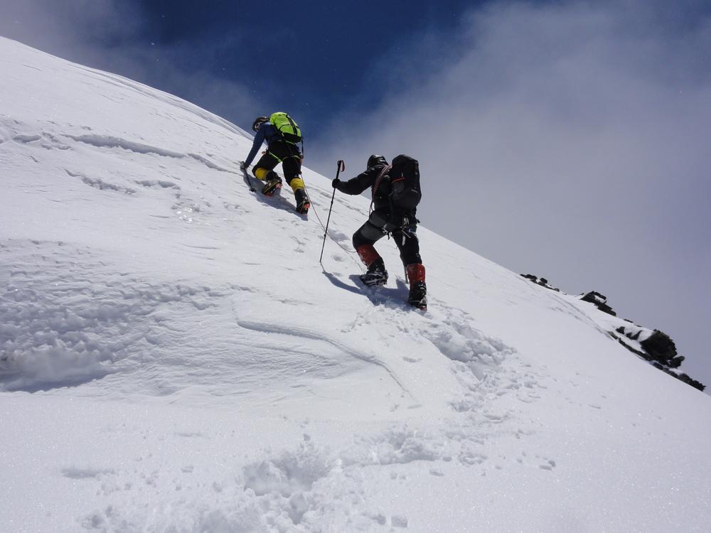 La dernière pente avant le sommet juste un peu en glace.