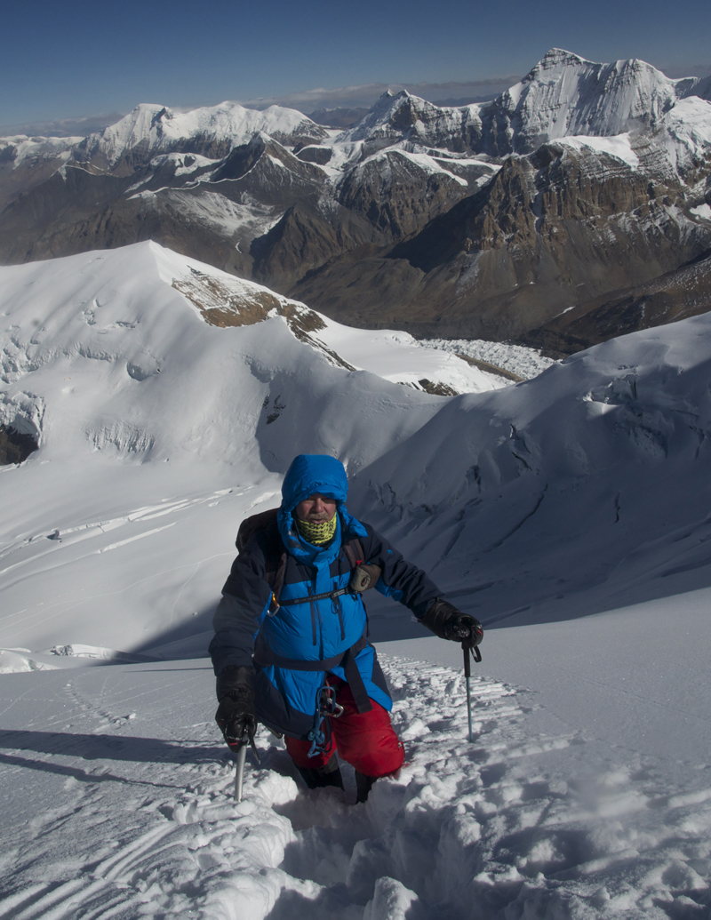 "Himlung Himal, on a new route ""Dedicated to the Braves""."