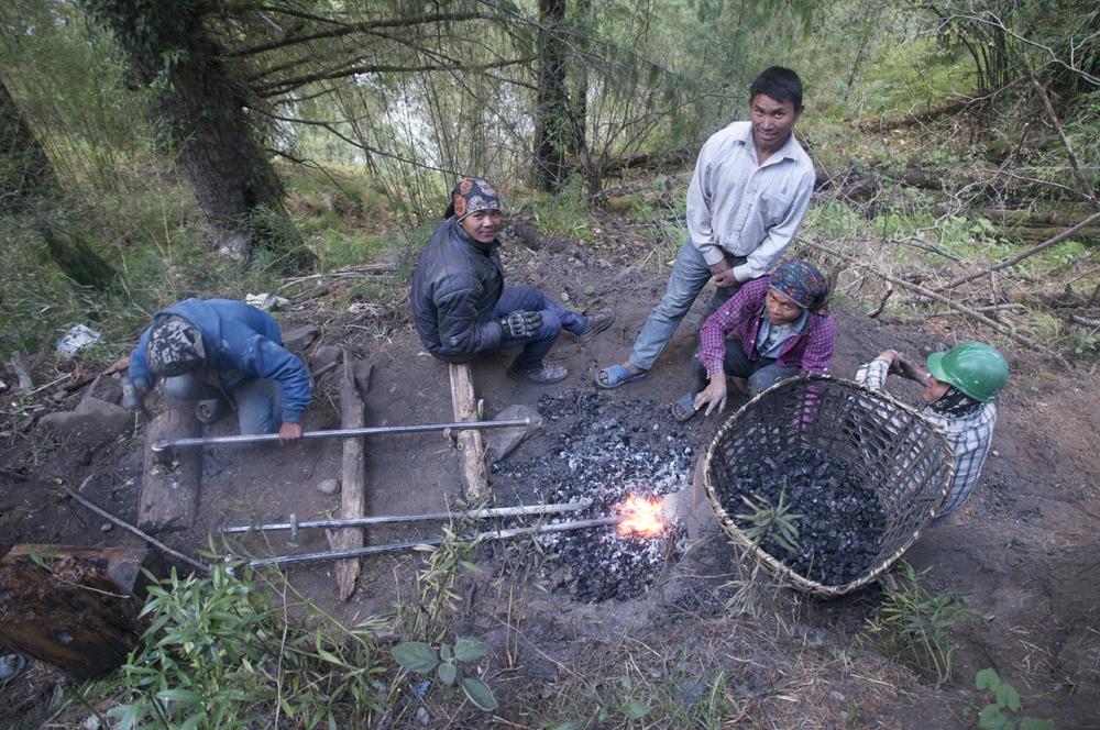 L'atelier d'aiguissage des barres à mines.