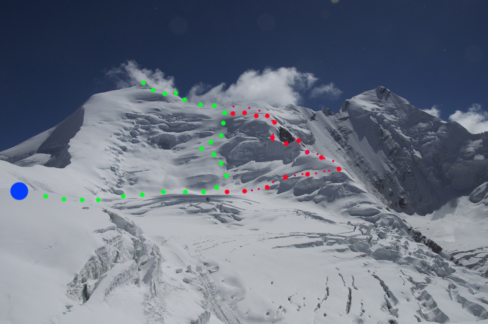 Himlung Himal, the two routes in spring 2016.