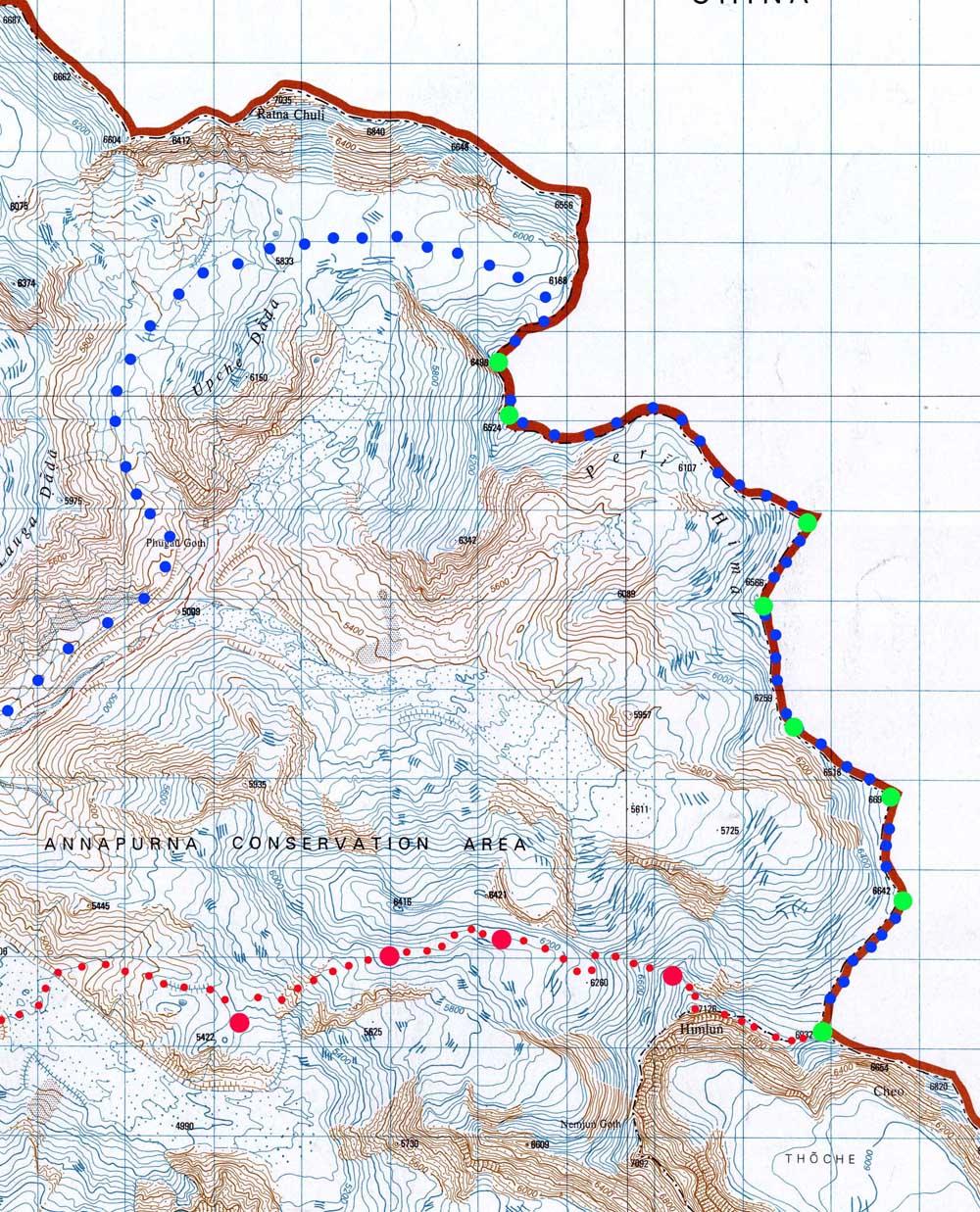 Himlung Himal, la carte de la traversée