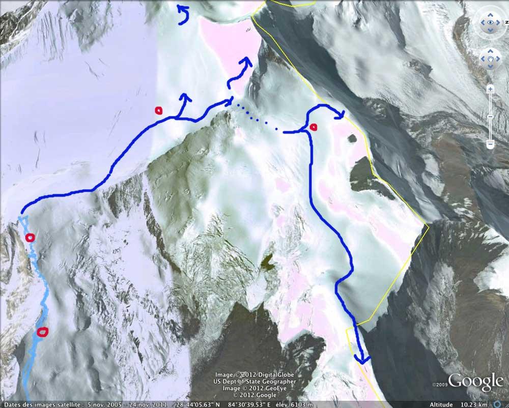 Le passage un peu technique, une traversée du plateau à l'arête frontière.