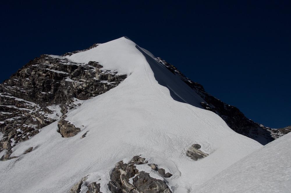 L'arête finale du Gangja La Peak.