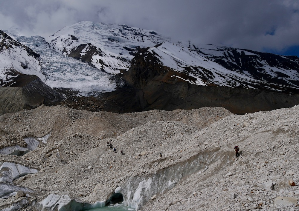 himlung glacier, du camp de base au french camp
