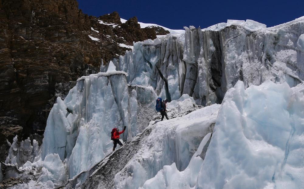 himlung, le glacier après crampons point