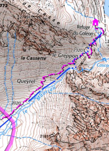 gribouillon, la carte du refuge du Goléon